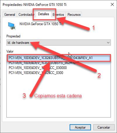 como encontrar el identificador único del hardware para encontrar un driver