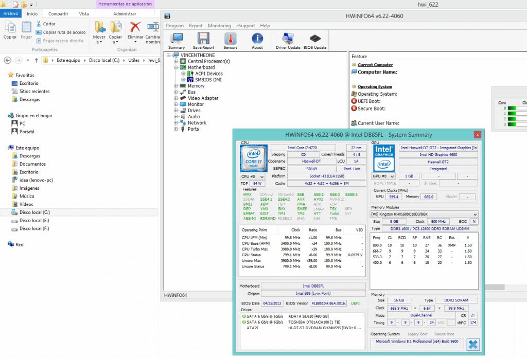 HwInfo es una herramienta informativa sobre el hardware de computadoras